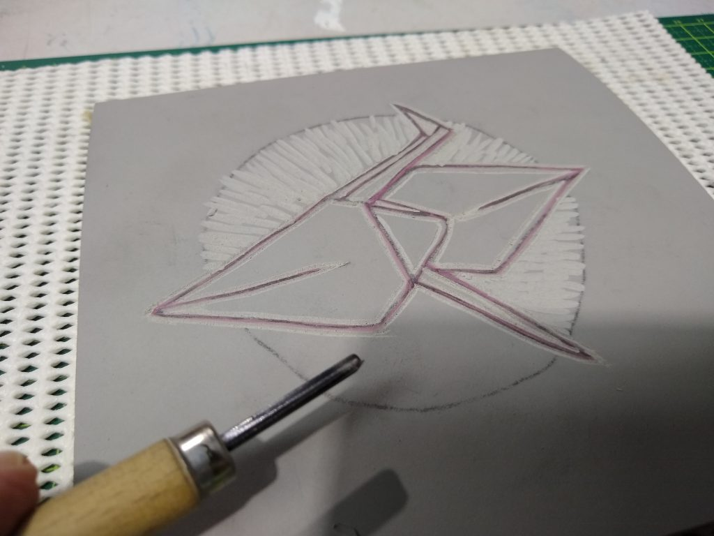 roughing out the background using a 'u' gouge
