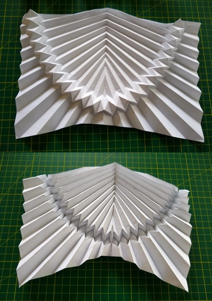 Flat-folding Curve-following Parabolic Corrugation