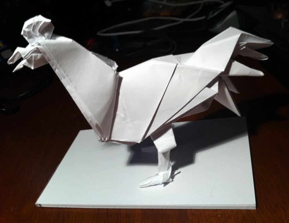 Origami Le 283 le coq de joisel setting the crease