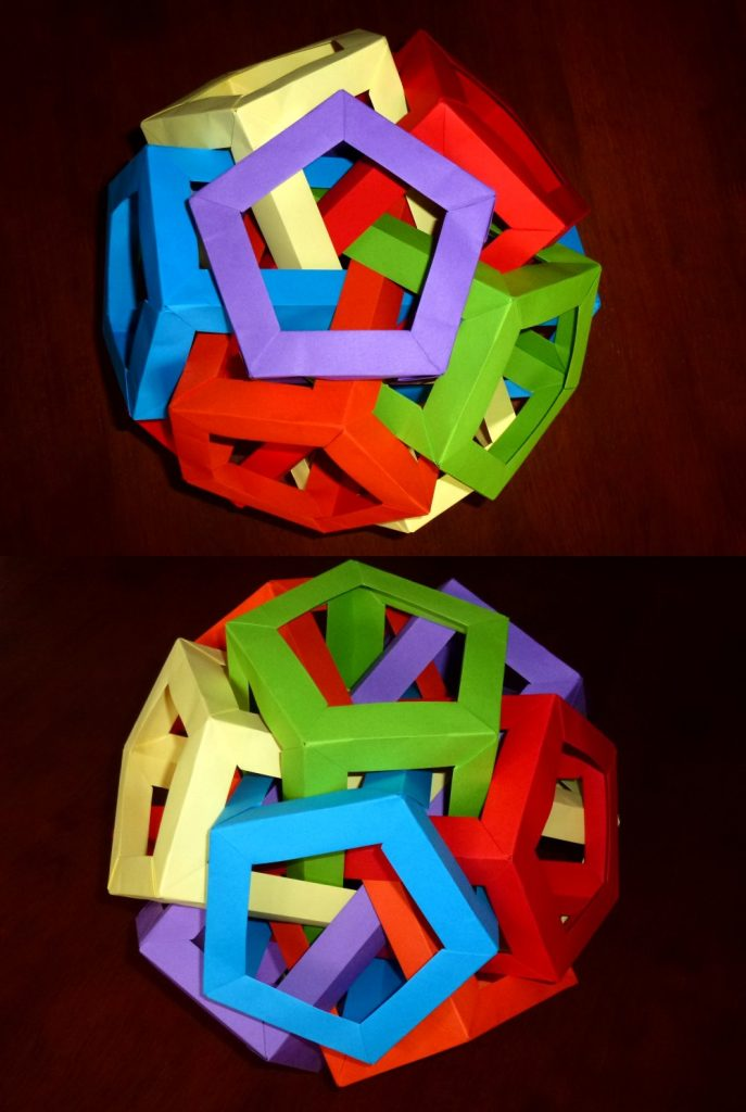 6 intersecting pentagonal prisims views