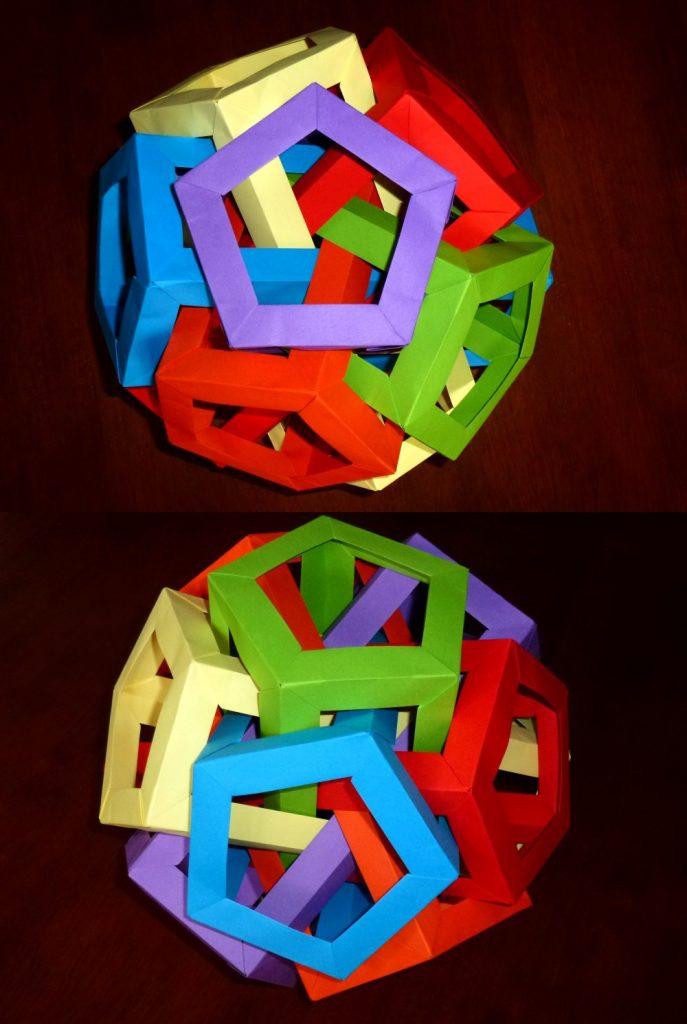6 intersecting pentagonal prisims views
