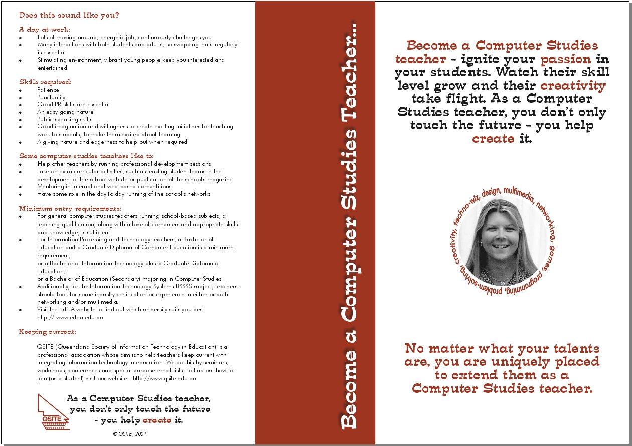 Qsite computer studies teacher brochure for Teacher brochures