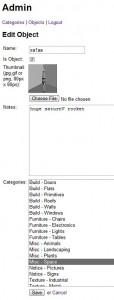 add an object, associate categories