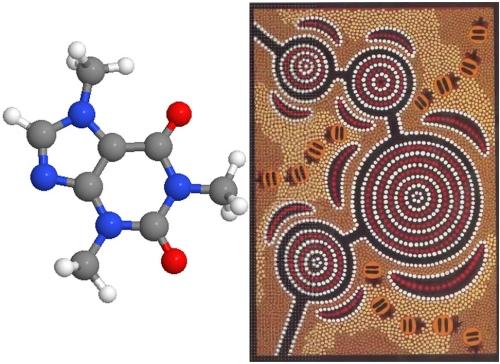 """Caffeine Molecule, Indigenous """"Waterhole map"""""""