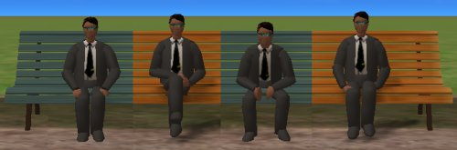 Sitting animations, gender assorted